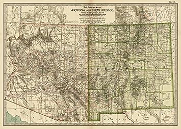 Amazon.com: Imagekind Wall Art Print entitled Vintage Map Of Arizona ...