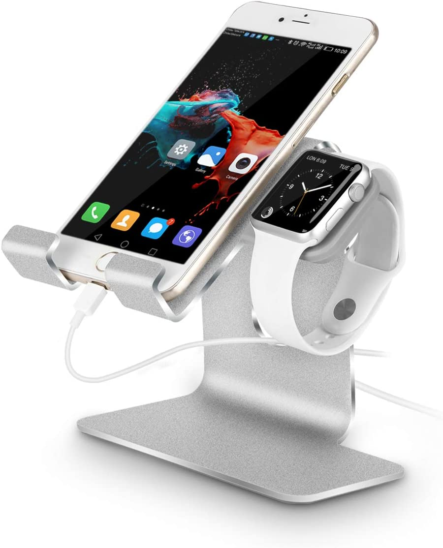 Tranesca 2-in-1 Charging Stand Compatible with Apple Watch 5/Apple Watch 4/Apple Watch 3/Apple Watch 2/Apple Watch 1(38mm/40mm/42mm/44mm) and iPhone/iPad (Sliver-Must Have Apple Watch Accessories)