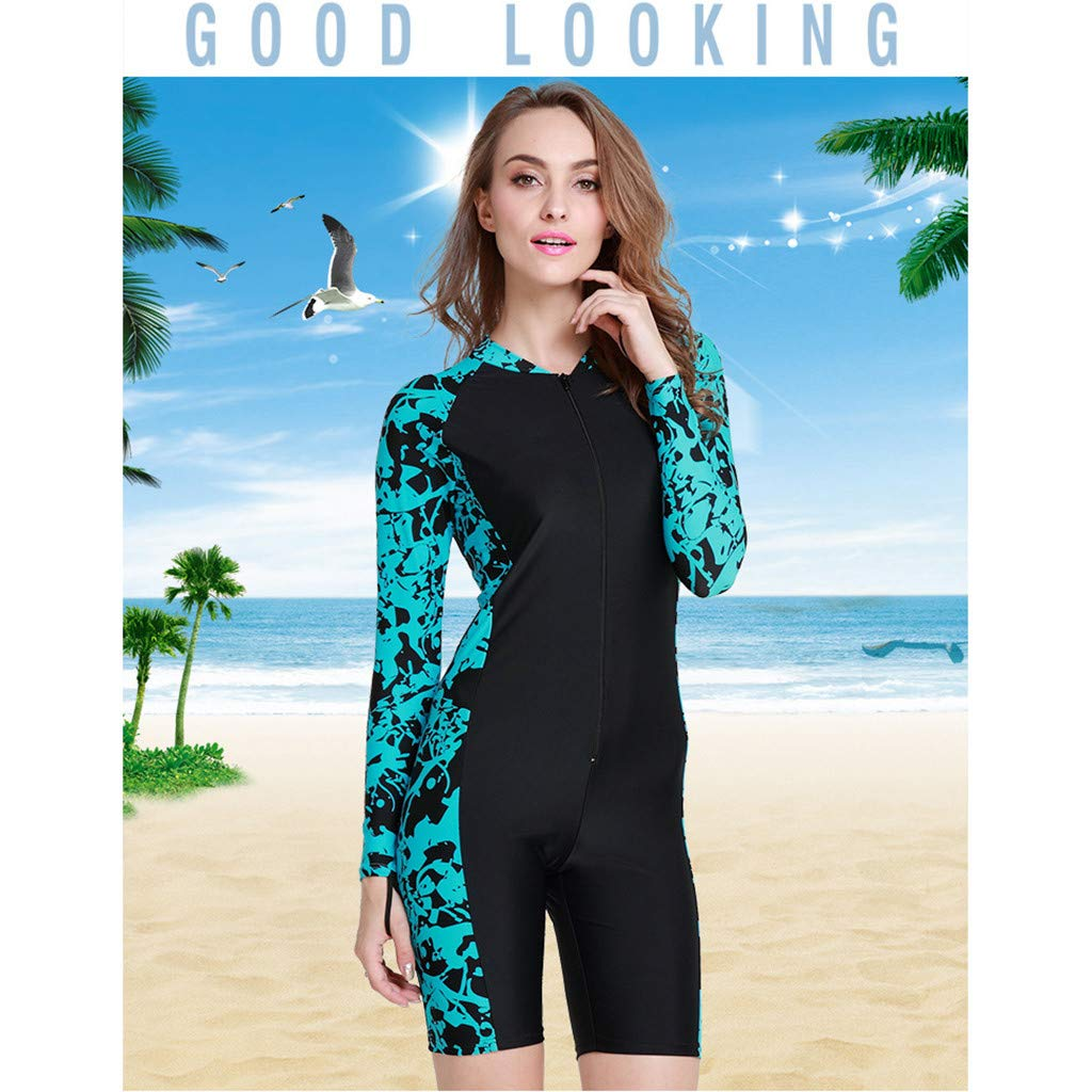 Yliquor Full Body Thin Women's Wetsuit, Premium Neoprene Wetsuit Shorty Long Sleeve Front Zip Wetsuit Shirt - for Swimming/Scuba Diving/Snorkeling/Surfing- One Piece by Yliquor