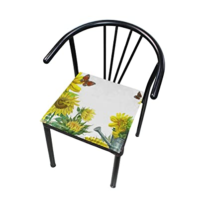 "Bardic HNTGHX Outdoor/Indoor Chair Cushion Sunflower Butterfly Pattern Square Memory Foam Seat Pads Cushion for Patio Dining, 16"" x 16"": Home & Kitchen"
