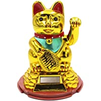 Vetrineinrete® Gatto della Fortuna Giapponese Maneki Neko con Braccio Mobile a energia Solare 16 x 10 cm arredo casa Idea Regalo Portafortuna Cinese