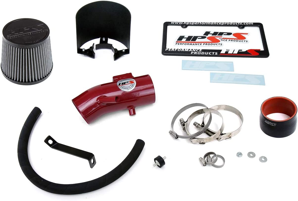 HPS Performance 827-680WB Black Shortram Air Intake Kit with Heat Shield Cool Ram 1 Pack