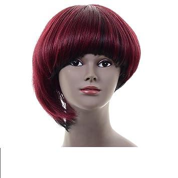 Extensiones de cabello Estilo bob peluca de pelo sintético rojo de Ombre con casquillo de la