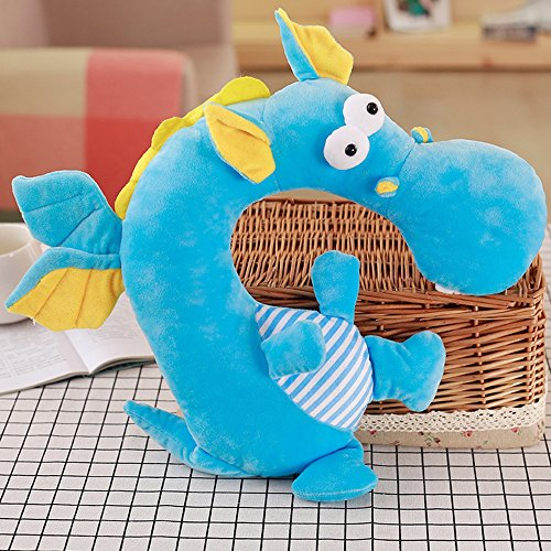 LUCKSTAR U-shaped Pillow - Soft & Small Cartoon Neck Pillow Comfortable Travel Pillow Animal Travel Neck Pillow Plush Toy Provides Relief and Support for Neck Pain Suit for Travel, Home (Blue Dragon) by LUCKSTAR (Image #7)