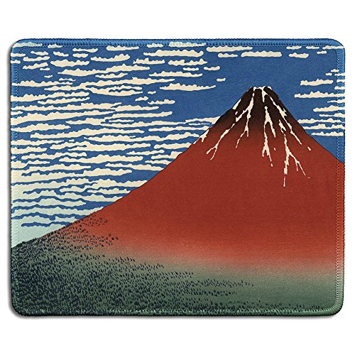 (dealzEpic - Art Mousepad - Natural Rubber Mouse Pad with Famous Fine Art Painting of Red Fuji (Mount Fuji in Clear Weather) by Katsushika Hokusai - Stitched Edges - 9.5x7.9 inches)