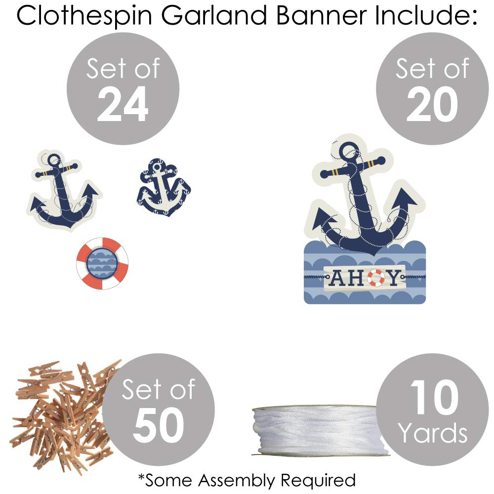 Baby Shower or Birthday Party DIY Decorations Big Dot of Happiness Ahoy Clothespin Garland Banner 44 Pieces Nautical