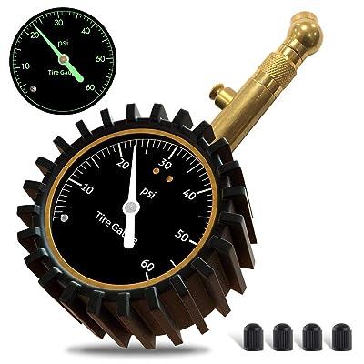 GLISTON Car Tire Pressure Gauge, Tire Pressure Gauge, Heavy Duty Tire Air Pressure Gauge for Car, Motorcycle, SUV, Bike Tires (0-60 PSI): Automotive
