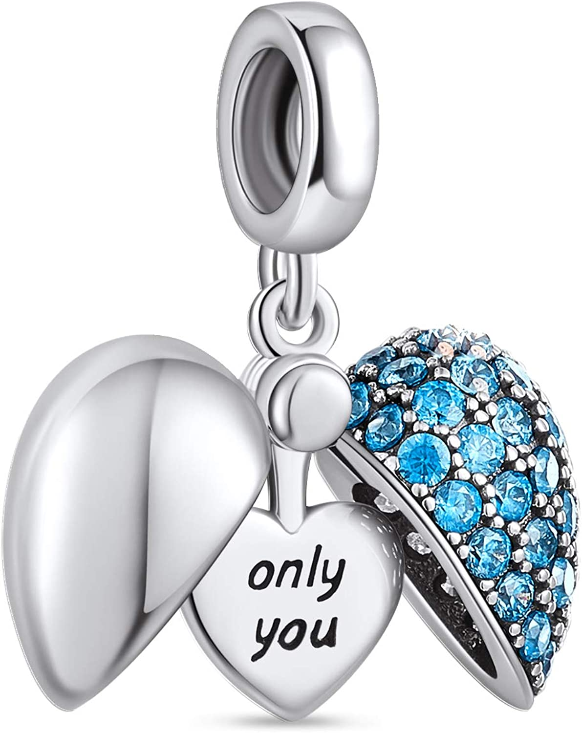 """NINGAN """"I Love You"""" Heart Pendant Love Charm 925 Sterling Silver Dangle  Charms Jewelry Making fits Pandora Charms Clearance Bracelets and Necklaces  ..."""