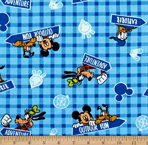 1 Yard - Mickey Mouse & Outdoor Friends on Blue Plaid Flannel Fabric - Officially Licensed (Great for Quilting, Sewing, Craft Projects, Throw Blankets & More) 1 Yard X - Fabric Licensed Flannel