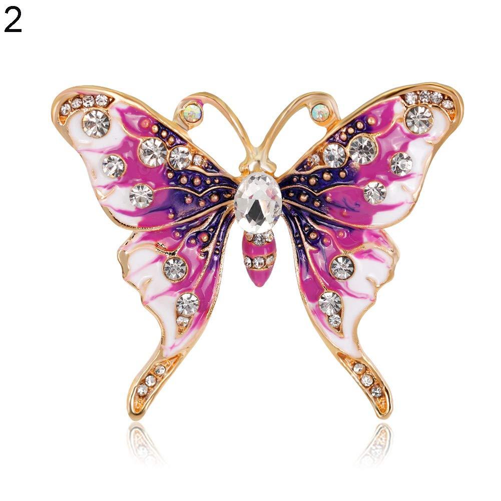 Finance Plan Women Retro Butterfly Multicolor Enamel Shiny Rhinestone Brooch Pin Jewelry Gift by Finance Plan (Image #1)