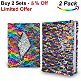 Sequin Notebook Easily Change Rainbow to Silver (White Ruled Paper). Kids Sequin Journal for Great Writing, Good Studying, Relaxing by HADeco, pack of 2