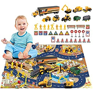 Best Epic Trends 61lU36KKDLL._SS300_ BeebeeRun Construction Vehicles Toys Set with Play Mat,44PCS Alloy Metal Trucks Car Play Set for Kids,Construction Truck…