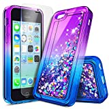 iPhone 4 Case, iPhone 4S Case with Screen Protector for Girls Kids Women, NageBee Glitter Liquid Quicksand Waterfall Floating Sparkle Shiny Bling Diamond Cute Case for iPhone 4/4S -Purple/Blue