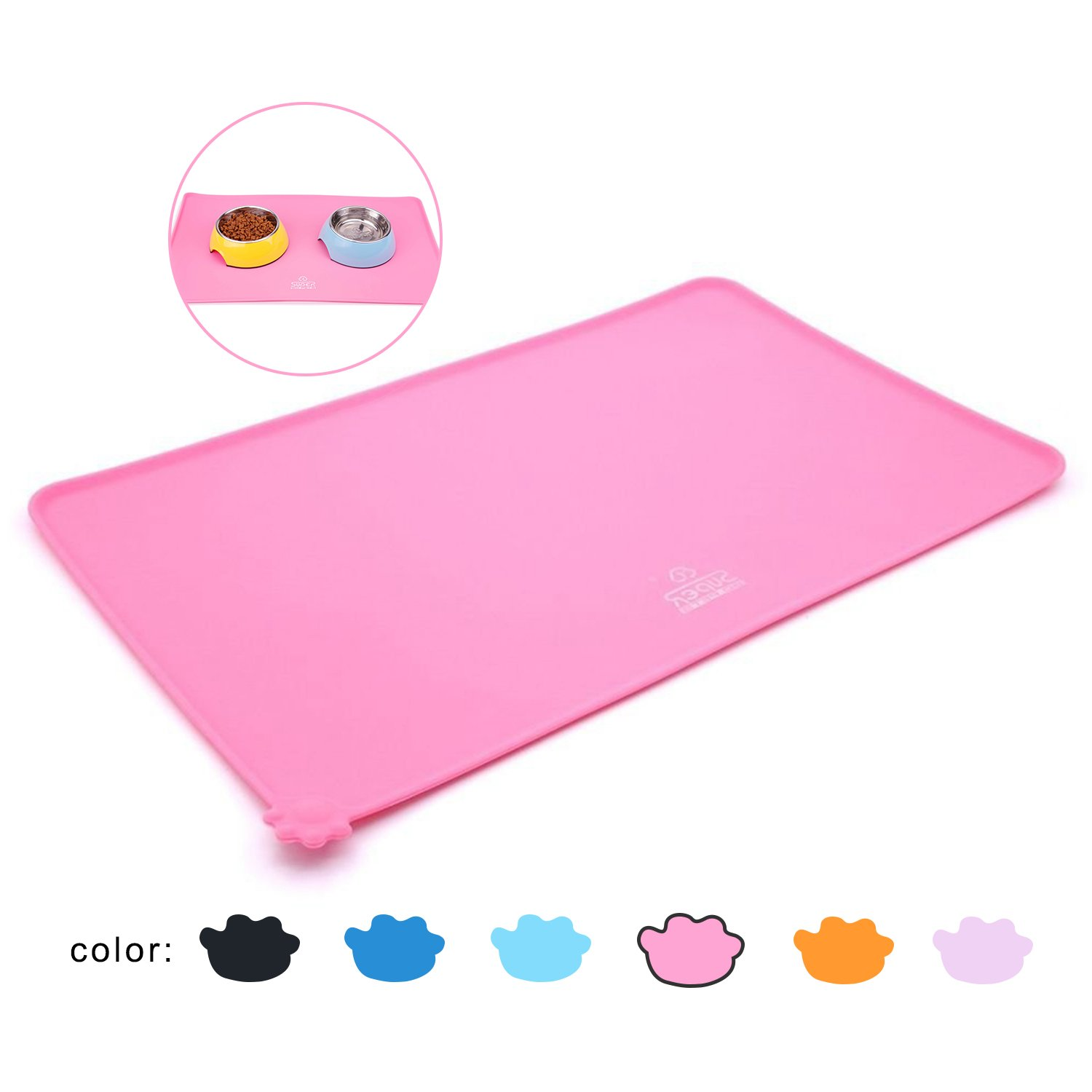 SuperDesign Square Pet Food Mat Made of Premium FDA Grade Silicone Pink Waterproof Non-slip Non-spill Easy to Clean Keep Floor Tidy