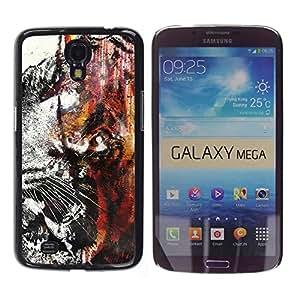 KLONGSHOP // Cubierta de piel con cierre a presión Shell trasero duro de goma Protección Caso - Tiger Graffiti - Samsung Galaxy Mega 6.3 //