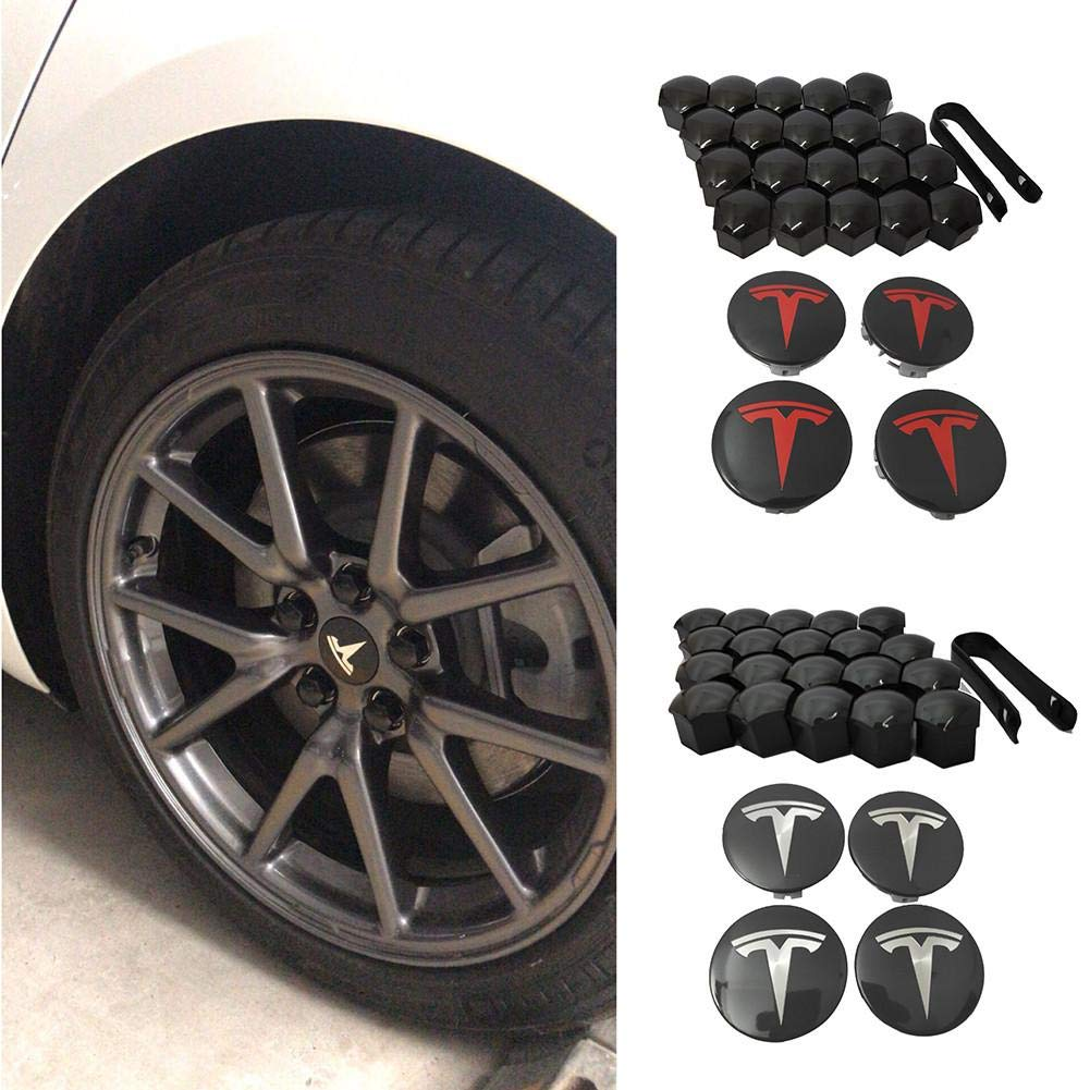 Clevoers Wheel Center Cover Modification Hub Nut Cap Accessories Easy Install Car Styling ABS Anti Scratch Decorative Exterior Smooth Replacement for Tesla Model 3