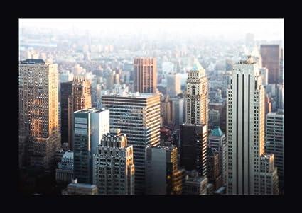 amazon com hazy nyc skyline by sonja quintero 28 x 40 framed