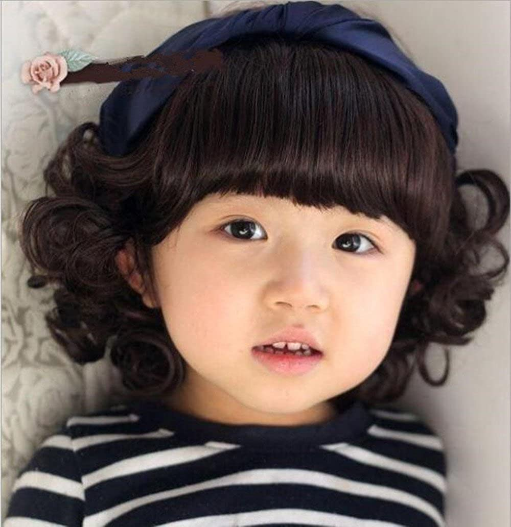 Child Cosplay Wig Curly Hair Lovely Bang Wig For Kids Light Brown For 1 4 Years Old Kids