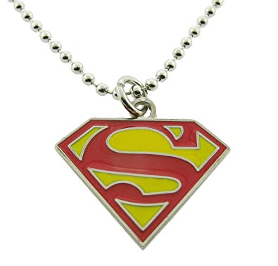 Amazon Superman Pendants Necklace Dog Tag Red And Yellow Shield