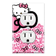 Duplex Wall Outlet Plate Decor Wallplate - Hello Kitty Pink Bow