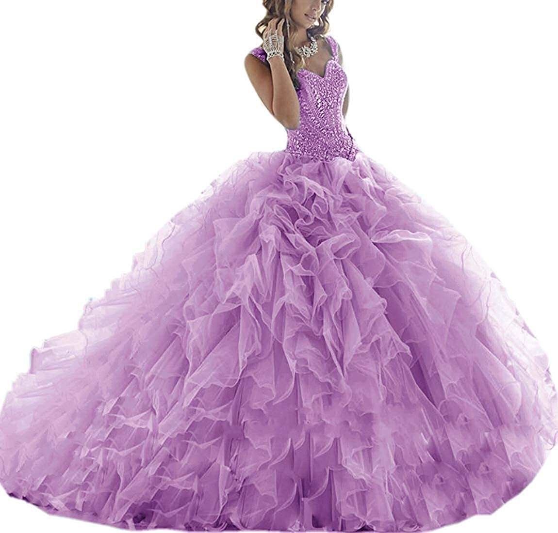 purplec ASBridal Quinceanera Dresses Long Prom Party Dress Sweet 16 Crystals Beads Formal Ball Gowns Orangza