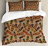 Ambesonne African Duvet Cover Set Queen Size, Bakongo Masks Colorful Ethnic Design with Swirls Honoring the Elder Ones Totem, Decorative 3 Piece Bedding Set with 2 Pillow Shams, Multicolor