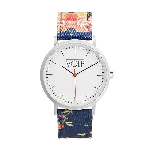Reloj Vegano Unisex de Pulsera. VOLP Plata/Flores, de Acero Inoxidable (42 mm). Correas Intercambiables de Nylon Forrado con Piel Vegana (superfibras).