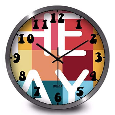 Maivasyy Metal Round Bright Colored Wall Clock Minimalist