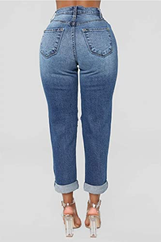 TENGFU Womens Sexy Distressed Destroyed Ripped Slim Blue Baggy Jeans Pants