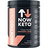 NOW KETO Keto Collagen Peptides with Mcts Powder (Medium Chain Triglycerides) - Keto Diet - Low Carb High Fat (Lchf) & Great Fiber Source, Great For Ketogenic Diet & Ketosis- Strawberry Creme