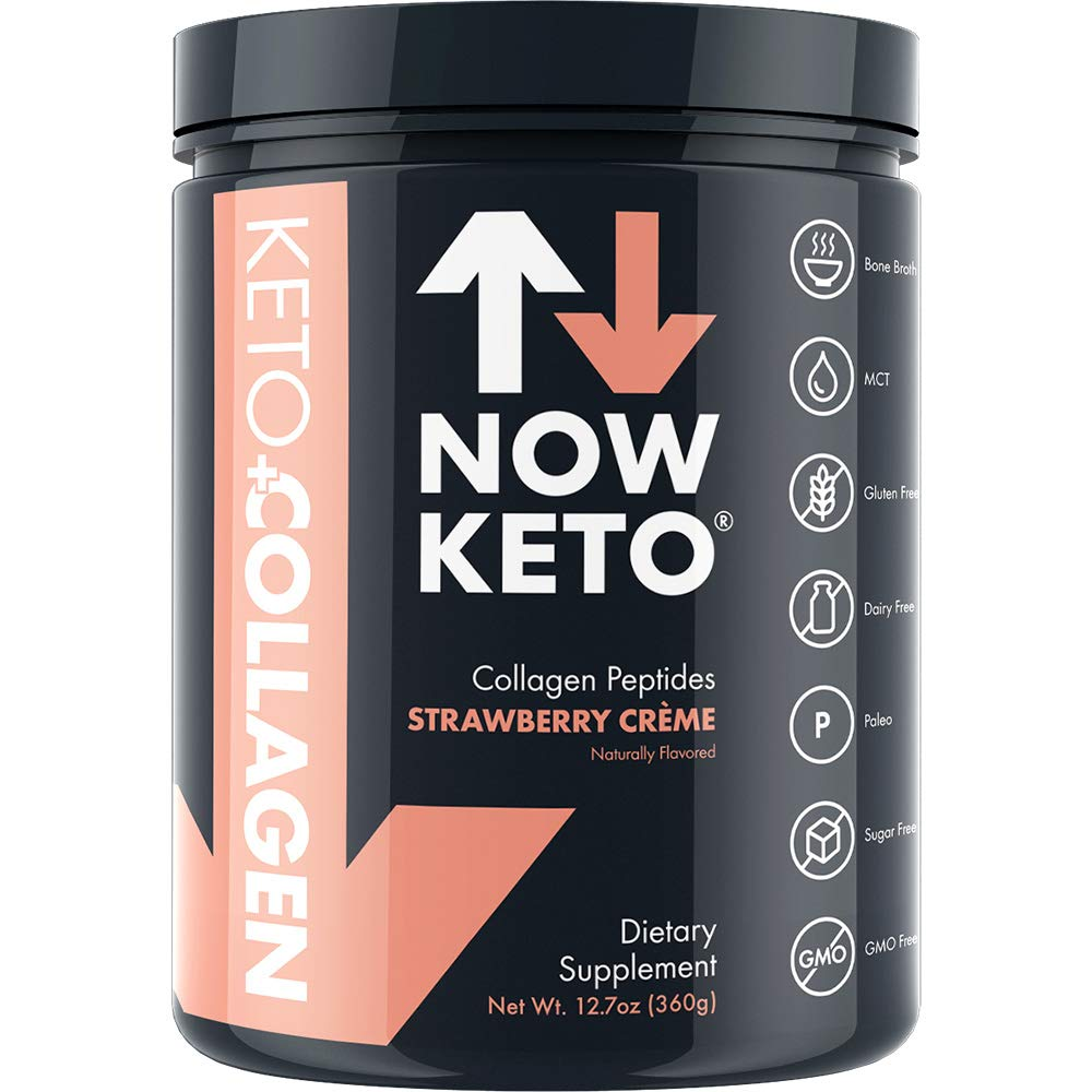 NOW KETO® Keto CollagenTM Peptides w/MCTs Powder (Medium Chain Triglycerides) - Keto Diet - Low Carb High Fat (LCHF) & Great Fiber Source, Great for The Ketogenic Diet & Ketosis- Strawberry Creme by NOW KETO