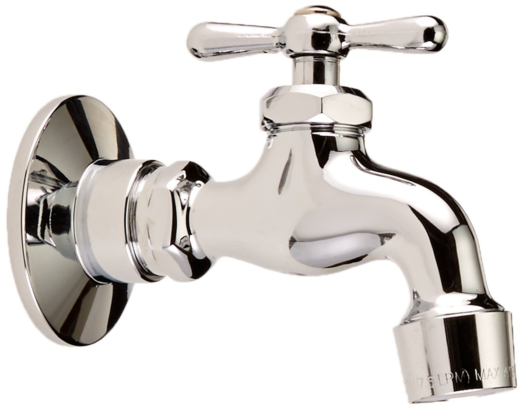 Homewerks 3210-161-CH-B-Z Single Handle Wall-Mount Faucet with Aerator and Flange, Chrome