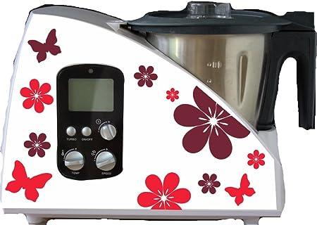 Robot de cocina pegatinas flores rojo para Monsieur Cuisine: Amazon.es