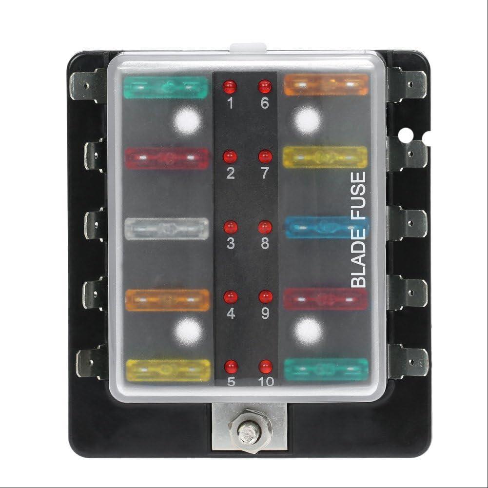 Qiilu Circuit Blade Sicherungskasten Blockhalter Mit Led Warnleuchte Kit Für Auto Van Boat Marine 10 Weg Auto