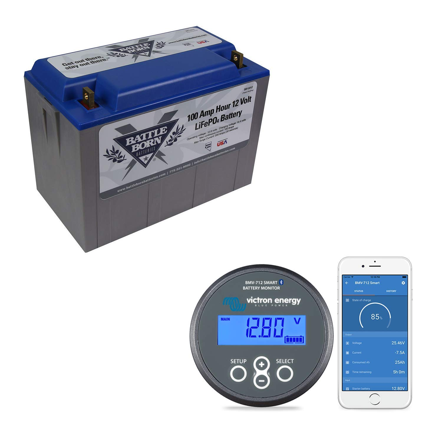 Battle Born Batteries BB10012 100Ah 12V LiFePO4 Lithium Deep Cycle Battery Bundle with Victron BMV-712 Monitor