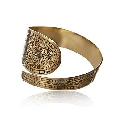 81stgeneration Women's Brass Gold Tone Rope Adjustable Bangle Cuff Bracelet PQdfvJt