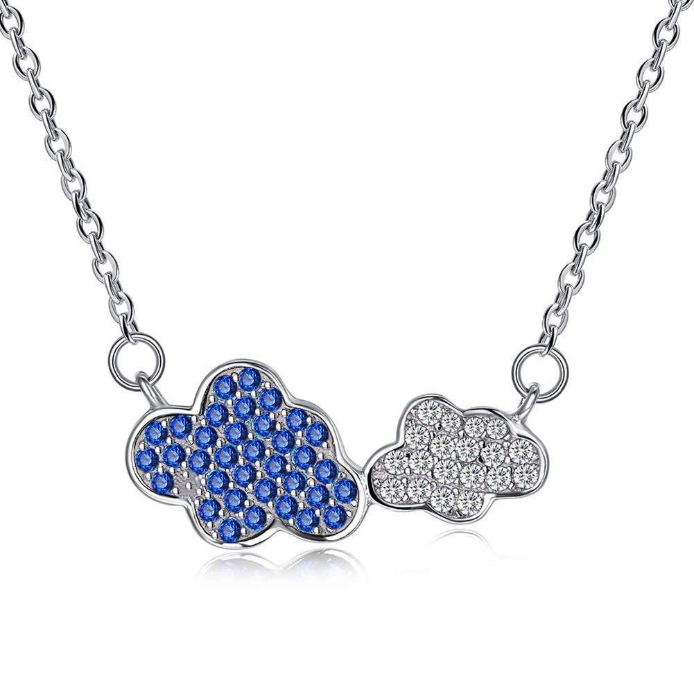 Women Elegant Home Jewelry s925 Sterling Silver Romantic Cloud Diamond Pendant Necklace Necklace Female
