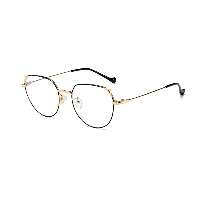 e2df9ee33740 Amazon.com: SUNGAIT Cat Eye Blue Light Blocking and Anti Eyestrain Computer  Reading Glasses (Black Frame Gold Temple)1919JHK: Clothing