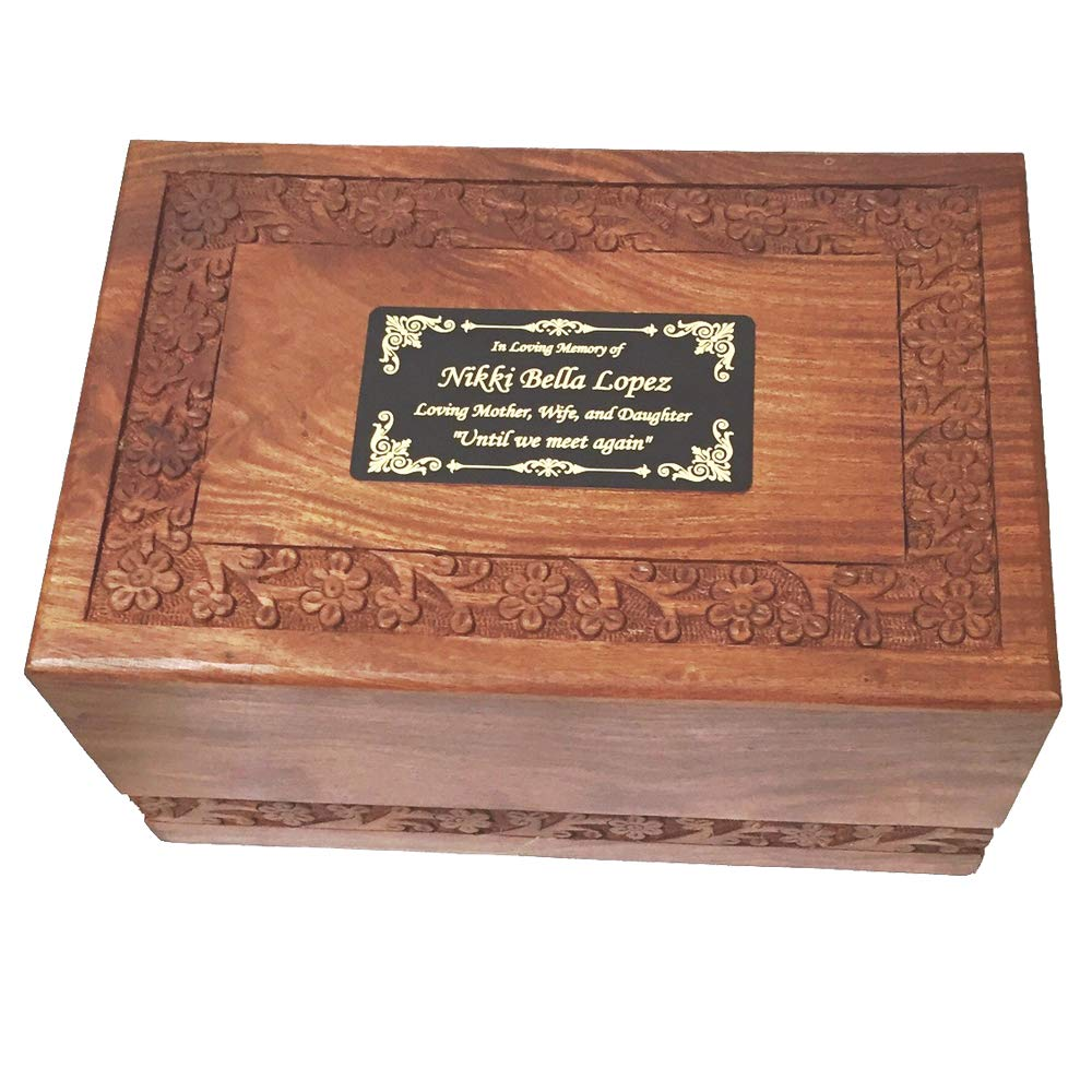 NWA Beautiful Adult Size Wood Human Funeral Cremation Urn with Custom Engraving by NWA
