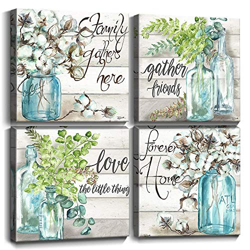 Canvas Prints Wall Art Decor Framed Vase Cotton Flower Blue Glass Bottle Watercolor Pastoral Love Quotes and Sayings Pictures Hanging Paintings Set of 4 Pieces 12X12 Gift Bathroom Walls Decoration