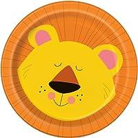 Unique Paper Plates Party Favours 8-Pieces Animal Jungle Paper Plates, Muli-Colour