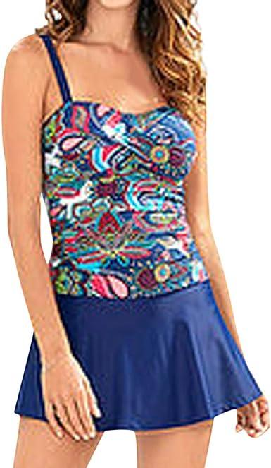 Women Tankini Swimsuit with Boy Shorts Skirt Swimwear 2Piece Swimsuit Plus Size