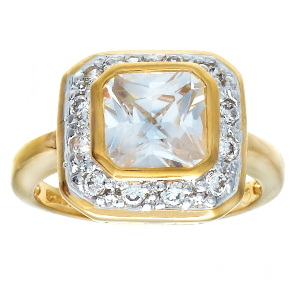 Square Shape Special Cut Cubic Zirconia Two Tone Engagement Style Fashion Ring Size 9