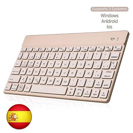 SENGBIRCH Bluetooth Teclado Español, Tastiera Wireless Retroilluminata Retroilluminazione a 7 Colori Tastiera Mobile Flessibile Sottile