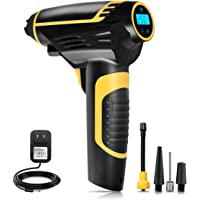 Automatic Cordless Air Compressor,Aiskki 2 IN1 Portable Hand Held Tire Inflator with Tire Pressure Gauge,12V 150PSI for Tire, Ball, Air Cushion
