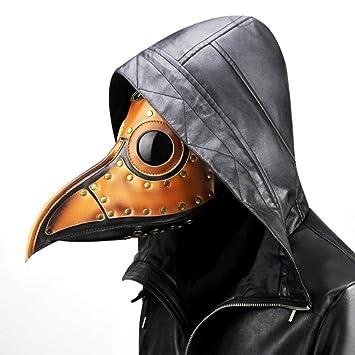MIANJU Máscara de la Peste Traje de Cosplay Halloween Adulto Negro PU Cuero Disfraces de Halloween