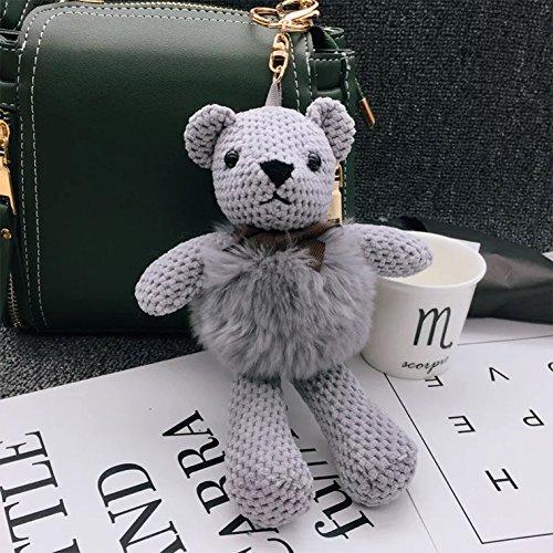 Cute and Soft Doll Bear Key Chain,Cartoon Bear Made of Beaver Rabbit Hair, Use for Key Tags Bag Decoration, Key/Bag Pendant, Car Decoration (Gray)