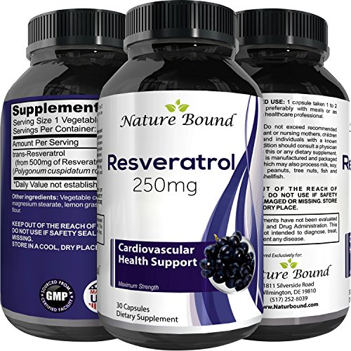 High Potency Resveratrol Root Supplement + Pure Grape Seed Extract – Premium Capsule Pills – Anti Aging – Maximum Strength Antioxidant – Supplement For Health & Skin Care – Women & men by Nature Bound For Sale