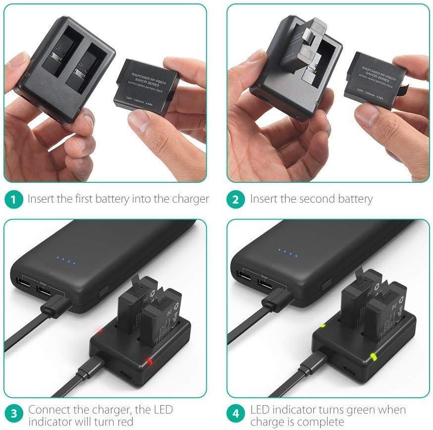 Batería RAVPower 10050 mAh cargador portátil de al aire libre resistente al agua a prueba de polvo y resistente a los golpes resistente (Premium batería de celda de litio linterna incorporada; Tecnología