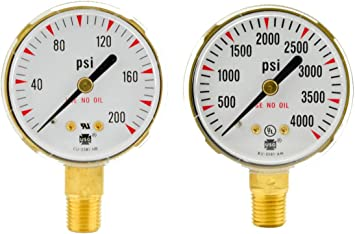 Replacement Gauges 5 Pack 1//4 in 2 in Brass 4,000 psi NPT